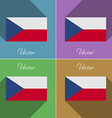 Flags Czech Republic Set of colors flat design and vector image