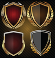 Golden shield set vector image