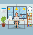 office workplace with table bookcase window vector image