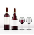realistic open red wine bottle with wine glass vector image
