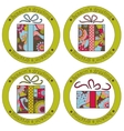 Seasons greeting stickers with christmas gifts vector image