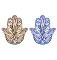 set of colored hamsa buddha hands element for vector image