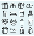 Set of linear icons packaging and gift box vector image