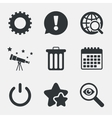 Globe magnifier glass and gear signs vector image