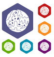 little planet icons set hexagon vector image