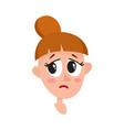 Pretty dark brown hair woman crying facial vector image