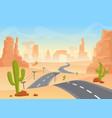 desert texas landscape cartoon desert with vector image