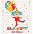 Happy birthday card with clown vector image