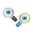 Eyes in magnifying glasses vector image vector image