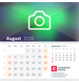 calendar for august 2018 week starts on sunday 2 vector image