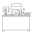 cartoon of tired manager or boss sleeping at desk vector image