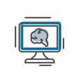 process management icon with computer monitor vector image