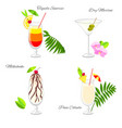 set of beach party cocktails vector image