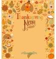 Thanksgiving menu card vector image