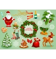 Christmas and New Year traditional symbol set vector image vector image