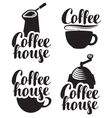logos for coffee house with a cup and grinder vector image