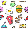 collection stock of food delicious doodles vector image