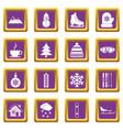 winter icons set purple vector image