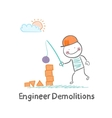 Engineer Demolitions destroys the tower of vector image vector image