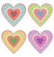 set of cute hearts vector image