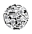 mafia criminal black symbols and icons in circle vector image