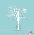 Abstract tree with hearts vector image