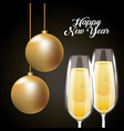 happy new year pair champagne glass and golden vector image
