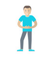 man character in flat style vector image