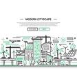 Modern Cityscape - line design website banner vector image