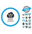 Storm Cloud Flat Icon with Bonus vector image