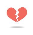 Red heartbreak broken heart or divorce flat icon vector image