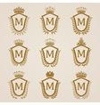Golden shields with laurel wreath vector image