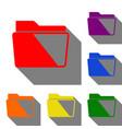 folder sign  set of red orange vector image