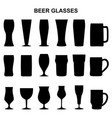 set of silhouettes of beer glasses vector image