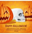 Happy halloween greeting card with carved pumpkins vector image