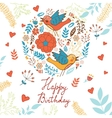 Happy birthday card with round composition vector image