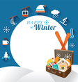 Suitcase with Winter Icons Frame vector image
