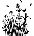 silhouettes of wild herbs and flowers vector image
