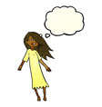 cartoon ghost like girl with thought bubble vector image