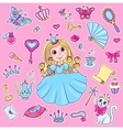 Cute princess sticker set vector image