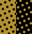 Gold and black polka dots pattern and texture set vector image