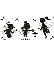 Three silhouettes of fairies vector image
