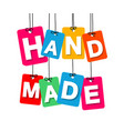 colorful hanging cardboard tags - hand vector image