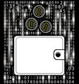 concept bitcoin in a purse on the background of a vector image