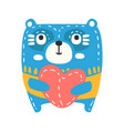 cute cartoon blue teddy bear with red heart vector image