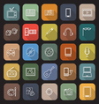 Entertainment line flat icons with long shadow vector image