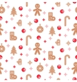 Gingerbread cookies seamless pattern vector image