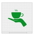 Hand with coffee cup sign icon vector image