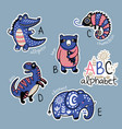 set of cute patch badges with animals alphabet a - vector image