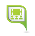 cinema icon on green map pointer vector image